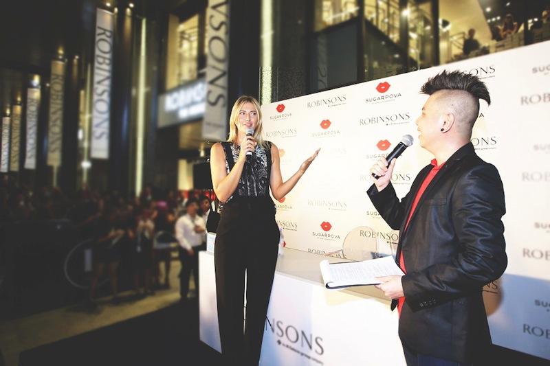 Maria_Sharapova_tennis_superstar_on_stage_speech_Launch_sugarpova_Robinsons_The_Heeren_2015_singapore_ashlogue.com